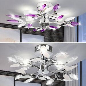 Wohnzimmer Deckenleuchte Design Lampe Esszimmer Decken Leuchte Lila Weiß Blätter