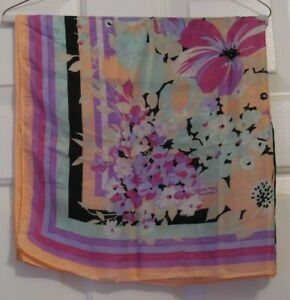 TERRIART-Various-Floral-with-Striped-Background-29-034-Square-Scarf-Vintage