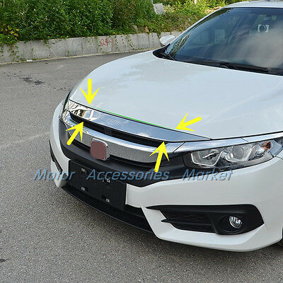Stainless Steel Chrome Front Hood Molding Cover Trim For Honda Civic 2016 2017