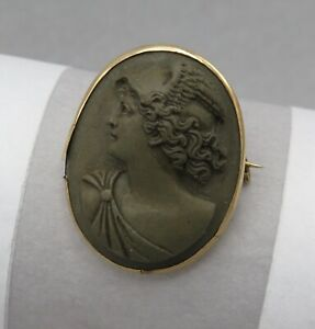 Antique-Victorian-10k-Gold-Carved-Hermes-Lava-Cameo-High-Relief-Brooch-Pin