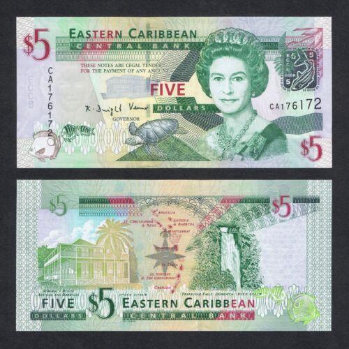 2008 EAST CARIBBEAN STATES 5 DOLLARS P-47 UNC /> QUEEN E II ANTIGUA DOMINICA