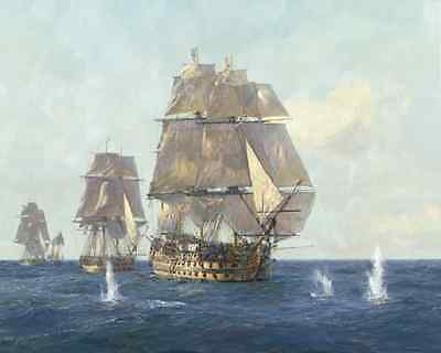 "GEOFF HUNT Trafalgar print ""The First Shots"" Canvas"