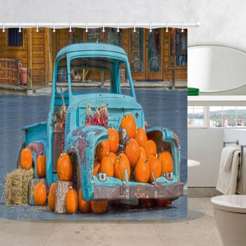 Camión Antiguo Azul Y Calabaza Cortina De Ducha Tela Decoración cuarto de baño y 12 Ganchos 71in