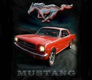 Mustang-Street-Scene-T-Shirt-1965-Mustang-With-Running-Horse-High-Quality