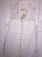 Michael Kors Petite Sleeveless Studded White P