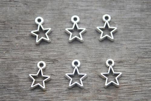 - Star Tono Plata Encantos Encantadora Mini Star Encanto Colgante 9x12mm 50 un
