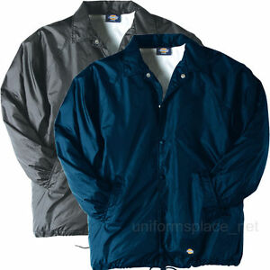 DICKIES Jacket Mens Snap Front Nylon Jackets Water Resistant Lined ...