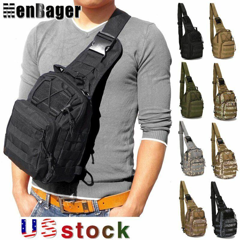 Guys Molle Tactical Sling Chest Bag Backpack Assault Pack Messenger Sho... - s l1600