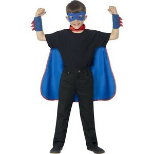 Boys Blue Superhero Cape Mask Cuffs Fancy Dress Costume World Book Day Bananaman