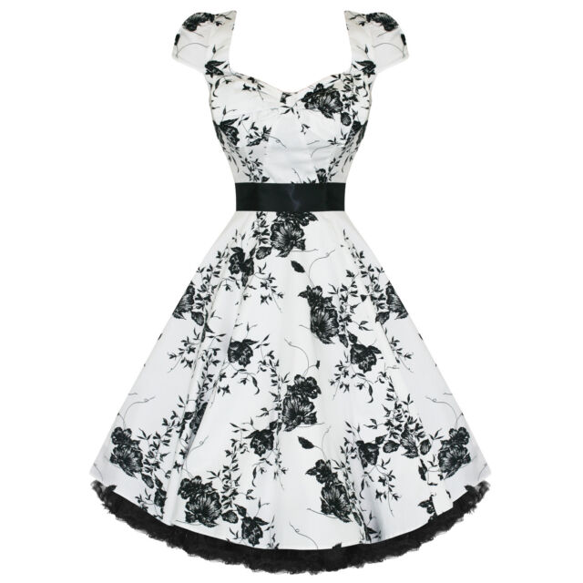 H & R LONDON White Floral 40's 50's Dress Swing Vintage Bow pinup punk 6690
