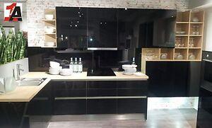 Altano Glos Wohnküche Einbauküche in schwarz Hochglanz / Sonoma ... | {Einbauküchen schwarz 6}