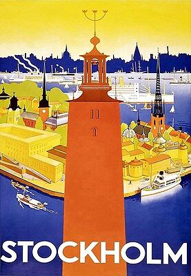A3 Travel Art Poster Stockholm Sweden print