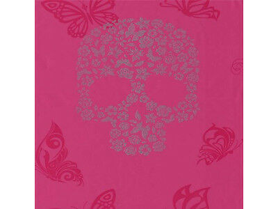 SKULLS TATTOO FLOWER PINK SILVER MURIVA FEATURE DESIGNER WALLPAPER J21803 NEW