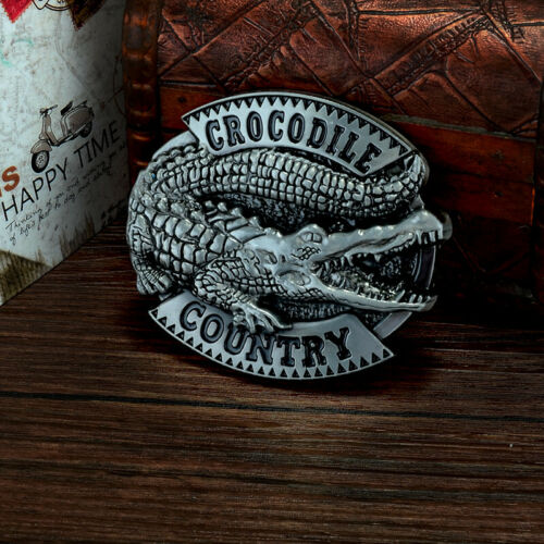 Fashion Mens 3D Patterns Crocodile Alloy Metal Vintage Belt Buckle Novelty Retro
