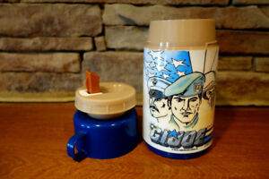 Vintage-1987-Aladdin-Brand-GI-Joe-Thermos-Blue-Cap-3-Pieces-w-Flip-Up-Straw