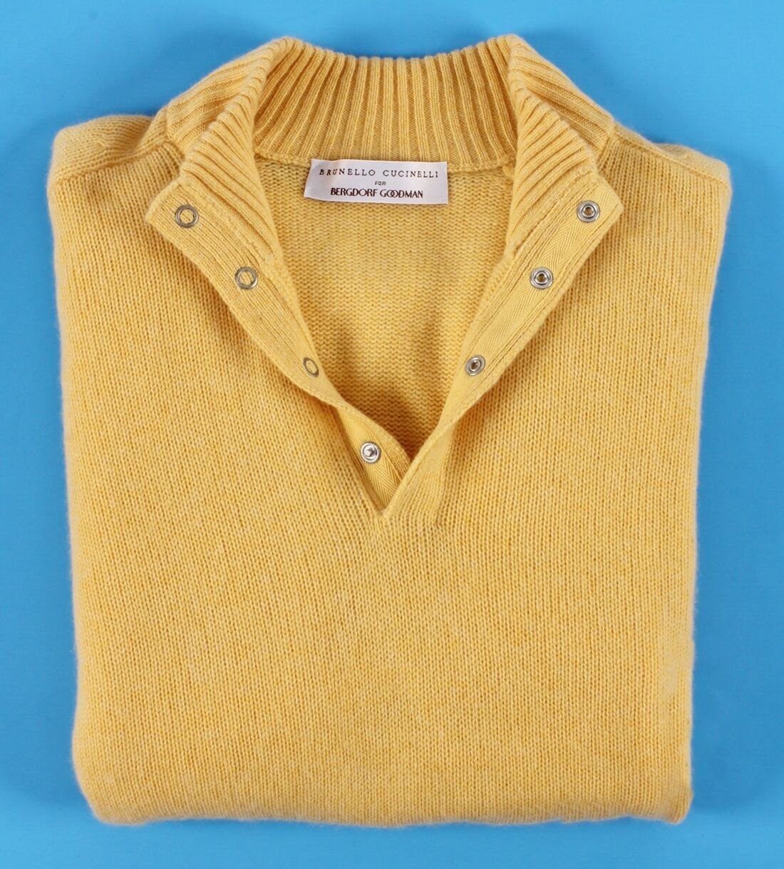 BRUNELLO CUCINELLI Front 100% CASHMERE Snap Front CUCINELLI Sweater - giallo 54 Large 77c528