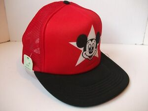 Vintage Mickey Mouse Star Hat Red Snapback Disney Trucker Cap w  Tag d5dceb1892fa