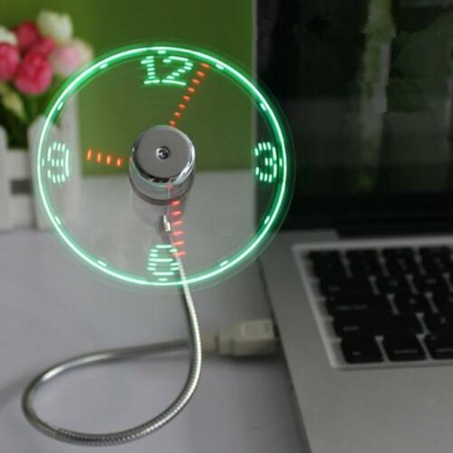 Mini USB Powered LED Cooling Flashing Real Time Display Function Clock Fan US