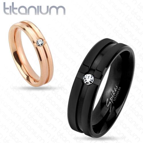 Titan anillo circonita CZ piedra Rose oro Rosegold negro anillo de pareja elegante