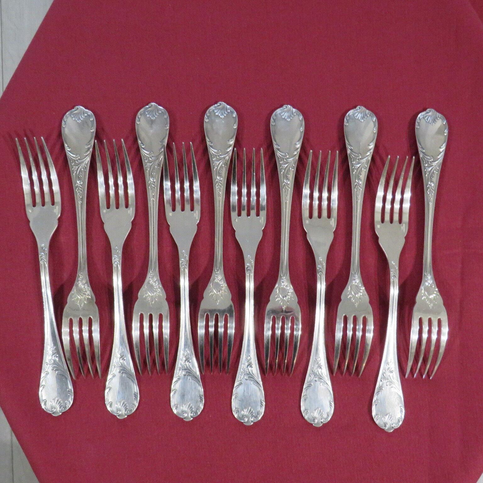 CHRISTOFLE     12 fourchettes à poisson en métal argenté modèle marly 17,7 cm