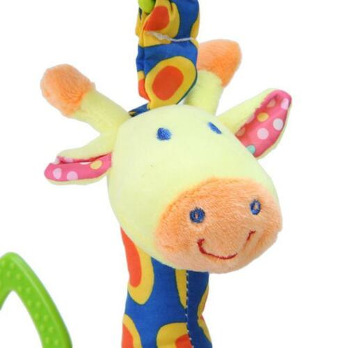 Plush Infant Baby Development Giraffe Animal Handbells Rattles Handle Toys HD
