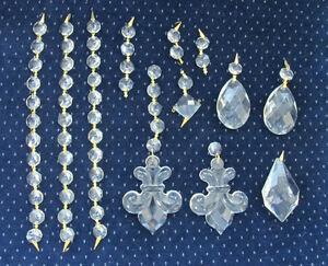 Lot of 59 Crystal Lamp Chandelier Prisms- Fleur-de-Lis, Tear Drop, Octagon Beads