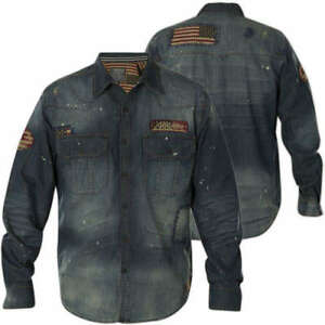 699d958d07f Image is loading AFFLICTION-Mens-Embroidered-Button-Down-JEAN-Shirt-BLUE-