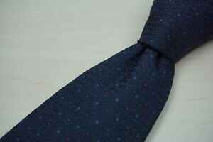 Gieves-amp-Hawkes-of-Savile-Row-Navy-Blue-Cherry-Red-Pindot-Textur-Woven-Silk-Tie