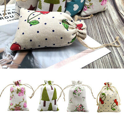 10Pcs Burlap Hessian Gift Bag Drawstring Linen Jewelry Pouch For Wedding Party