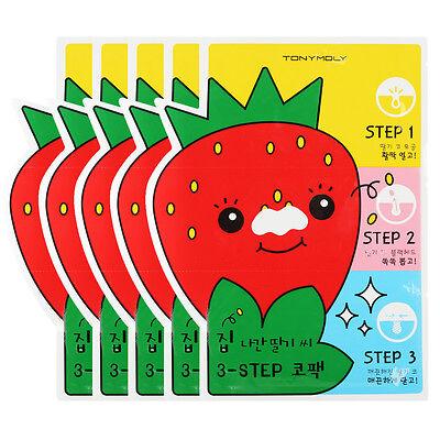 [TONYMOLY] Mr.Strawberry 3-STEP Nose Pack *5PCS* [RUBYRUBYSTORE]