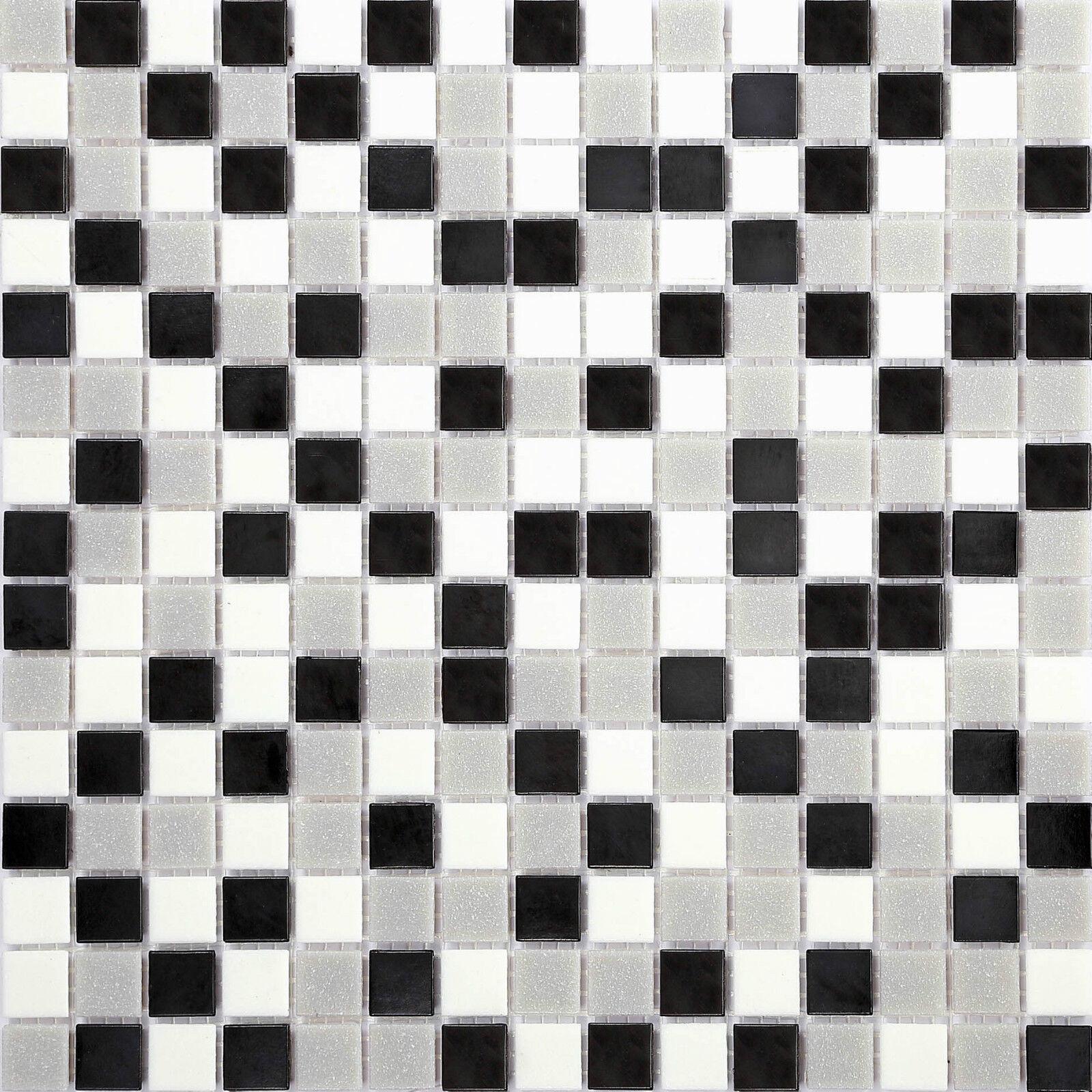 1qm Mosaik Fliesen Matte Glas Schwarz grauen weiße Bad Dusche Schwimmbad MT0107