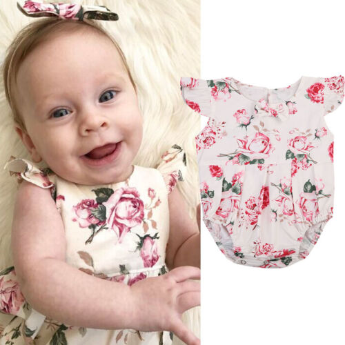 Newborn Toddler Baby Girl Clothes Lace Floral Romper Bodysuit Outfits 0-24Month