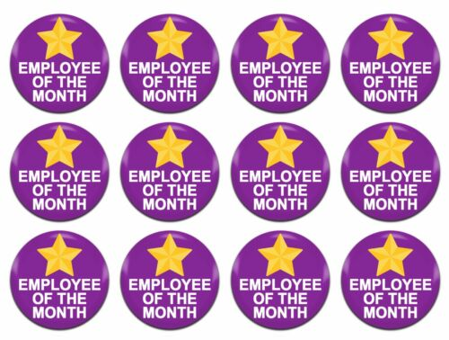 12x Employee Of The Month Award Purple 25mm 1 Inch D Pin Button Badges