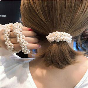 Women Girl/'s Pearl Hair Tie Band Rope Elastic Bun Ponytail Holders Scrunchies