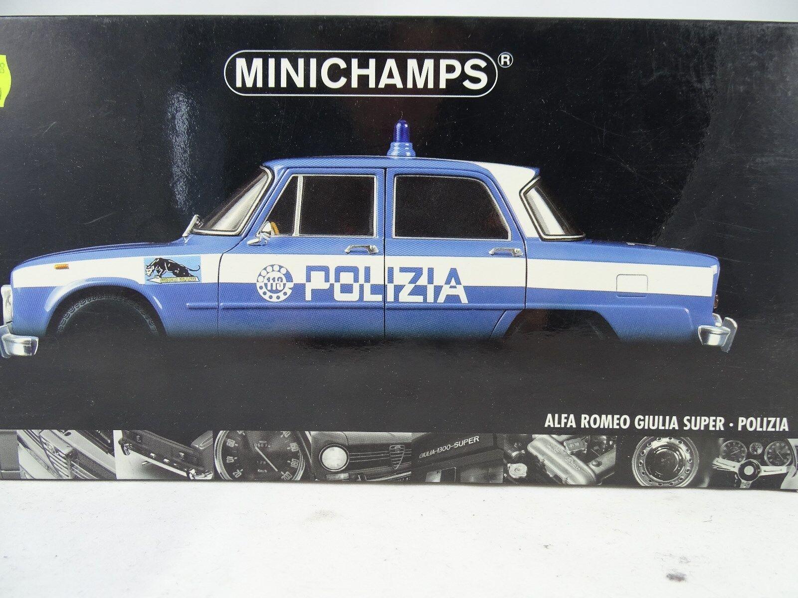 1 18 Minichamps Alfa Romeo Giulia Super polizia azul blancoo rareza §