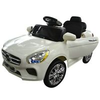 White Kids Ride On Car Rc Remote Control Battery Powered W/ Led Lights Mp3