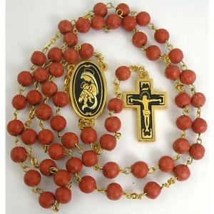 Damascene-Gold-Rosary-Crucifix-Virgin-Mary-Red-Beads-by-Midas-of-Toledo-Spain