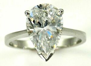 925-Sterling-Silver-2-Ct-Natural-Moissanite-Diamond-Pear-Shape-Ring-Sale