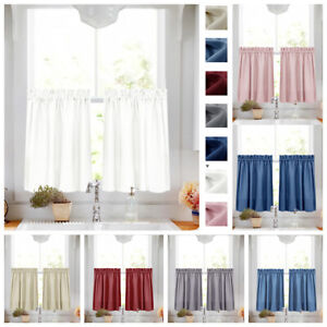 Details about Tier Curtains Semi Sheer Short Curtains Kitchen Casual Weave  Cafe Curtain 1 Pair