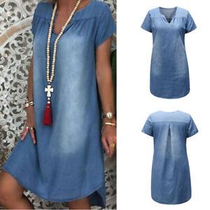 Plus-Size-M-3XL-Lady-Short-Sleeve-Summer-Loose-Denim-Midi-Women-Jeans-Dress-New