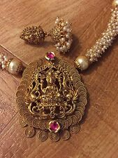 New Indian Ethnic Temple Jewelry Gold Plated Laxmi Pearl Ruby Necklace