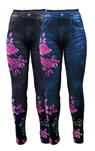 JEGGINGS 2x Jeansdruck mit Blumenmuster Sommer Stretch-Leggings LEGGINGS