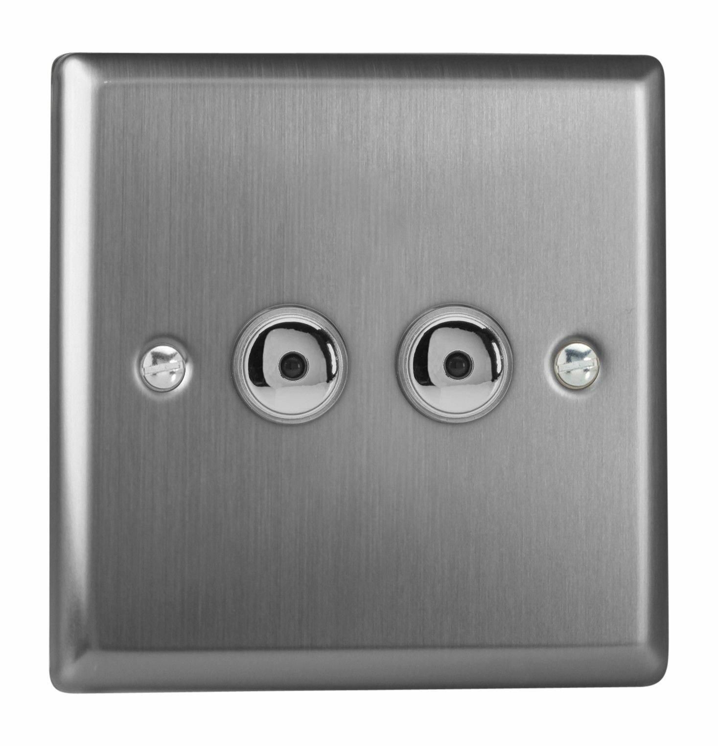 Varilight IJTI102 Brushed Steel 2 Gang 1W Remote Touch Master LED Dimmer 0-100W