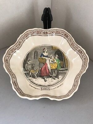 "Adams Cries Of London 10 1/4"" X 9 1/4"" Wavy Edged Serving Dish Careful Calculation And Strict Budgeting Adams Pottery, Porcelain & Glass"