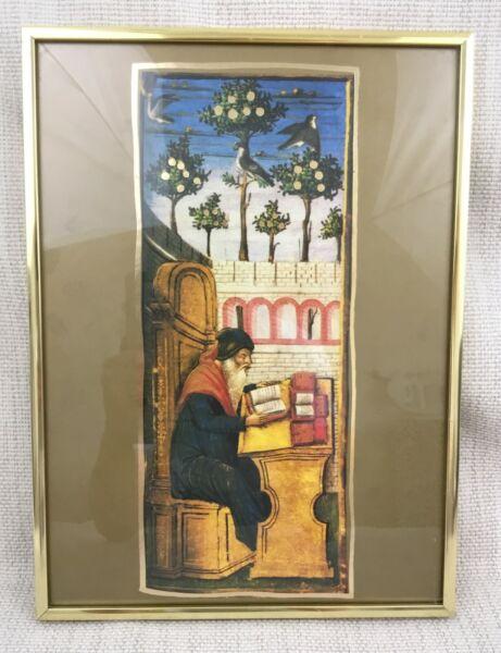 1960 Vintage Jüdischer Kunstdruck Gerahmt Beleuchtet Manuskript Rabbi Judaica Angenehm Im Nachgeschmack