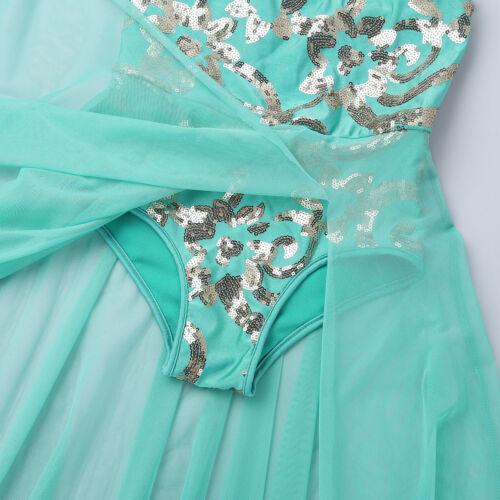 Girls Kid Lyrical Dance Dress Ballet Leotard Maxi Skirt Modern Dancewear Costume