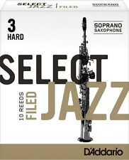 1 Box of 10 D'Addario/Rico Select Jazz Reeds Filed. Soprano Saxophone 3-Hard(3H)