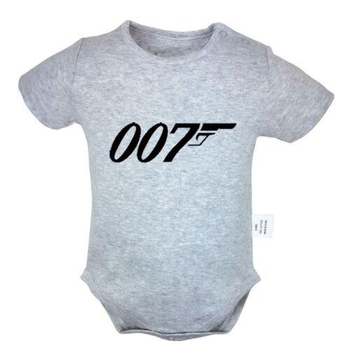 TV show James Bond NO.007 Gun Newborn Jumpsuit Baby Romper Infant Clothes Outfit