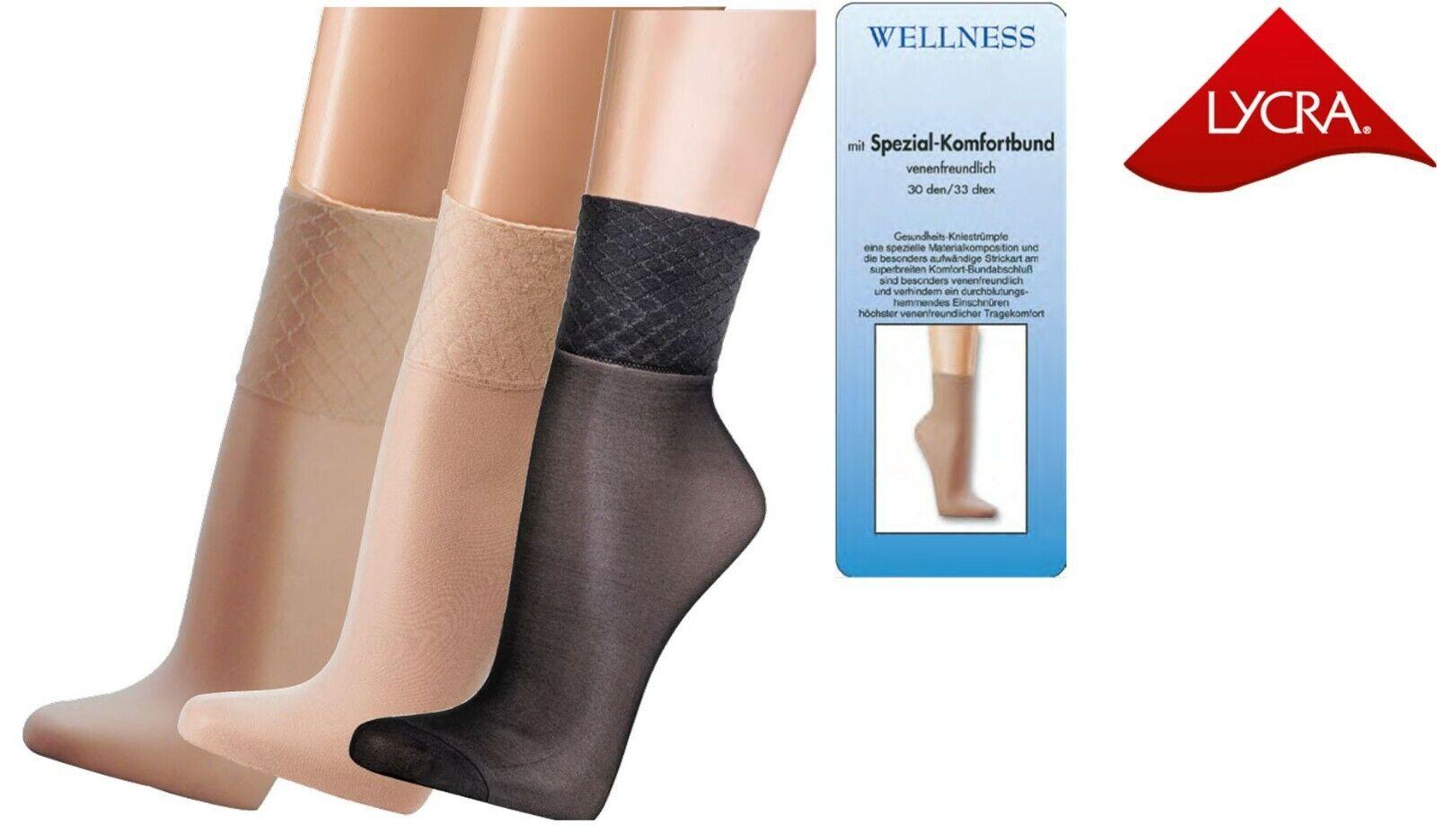 5,10 Paar Wellness Feinsöckchen Spezial Komfortbund ohne Gummidruck Socken 30den