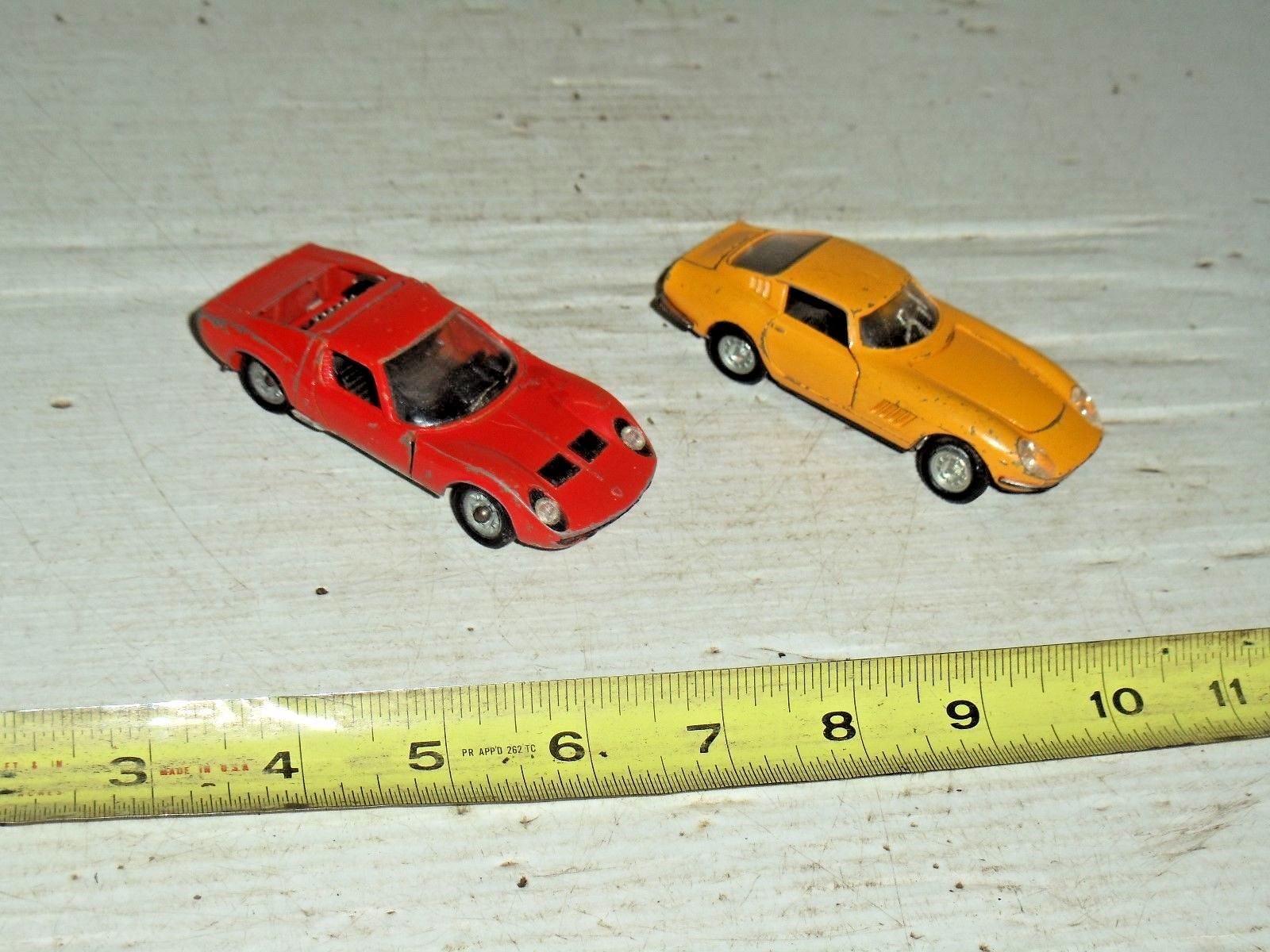 2 anciennes vintage die cast jouet voiture SOLIDO LAMBORGHINI MIURA POLITOYS FERRARI 275 GTB
